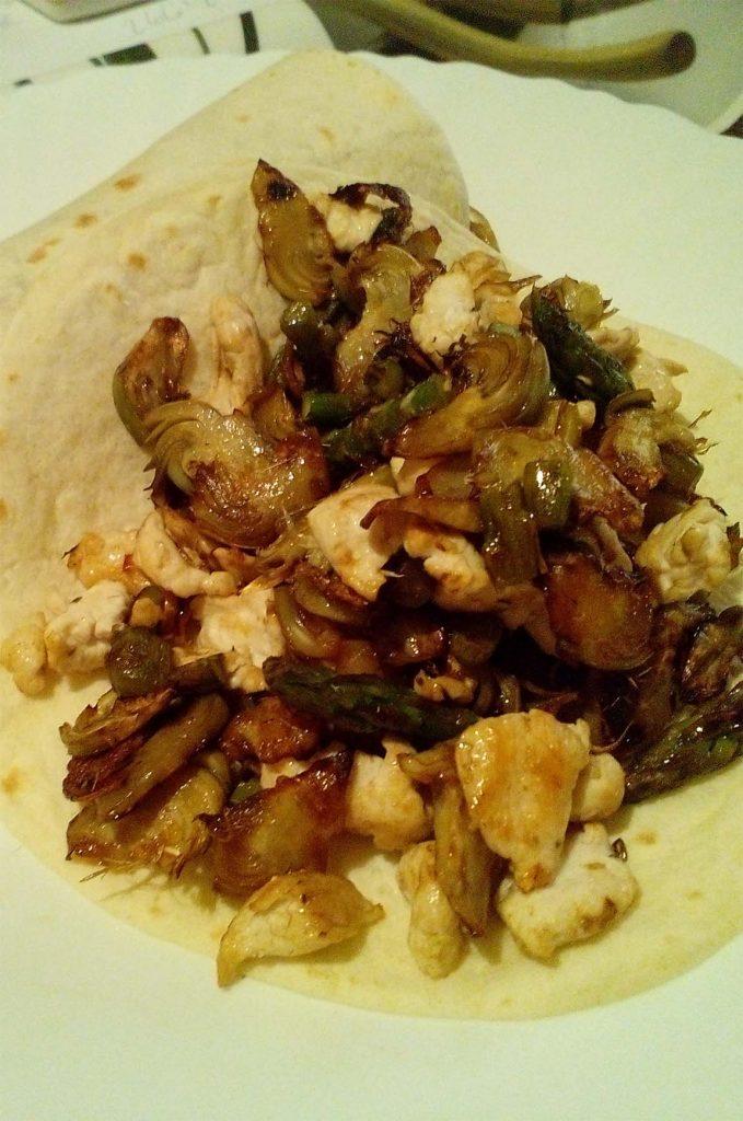 tortitas con pollo con verduras fitness