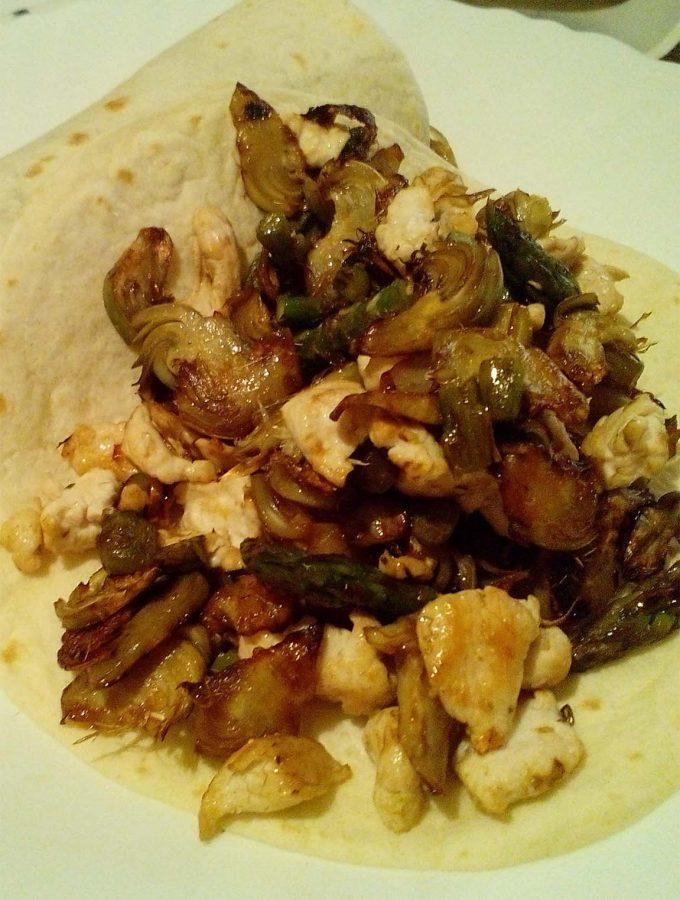 Tortitas con pollo y verduras